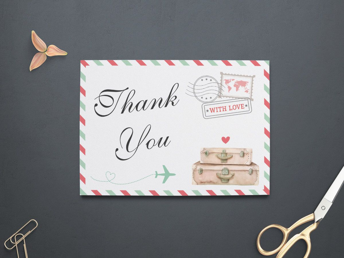 what to write in my bridal shower thank you cards%0A Travel Thank You Card  Travel Bridal Shower  Baby Shower  Travel Wedding   Birthday
