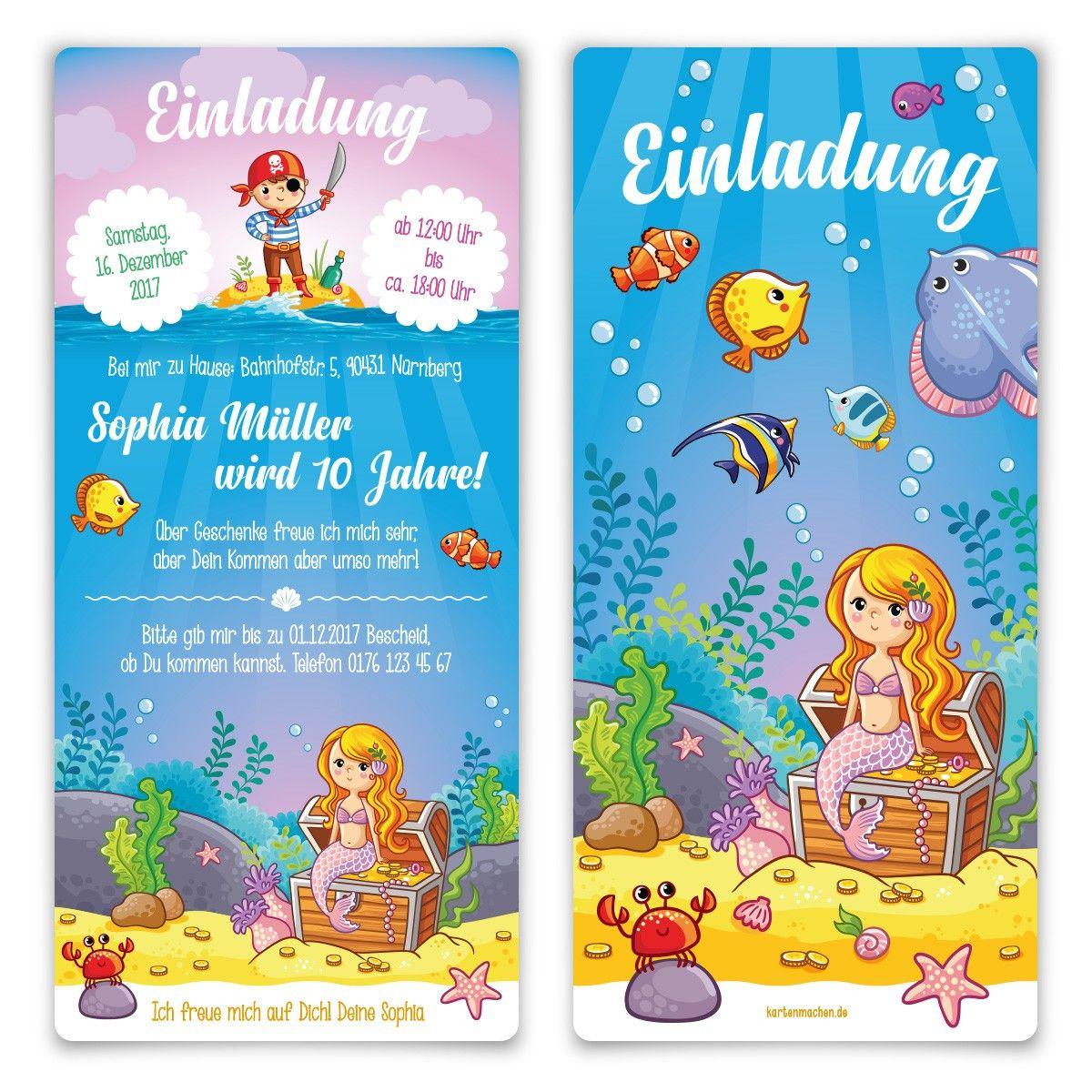 einladungskarten meerjungfrau