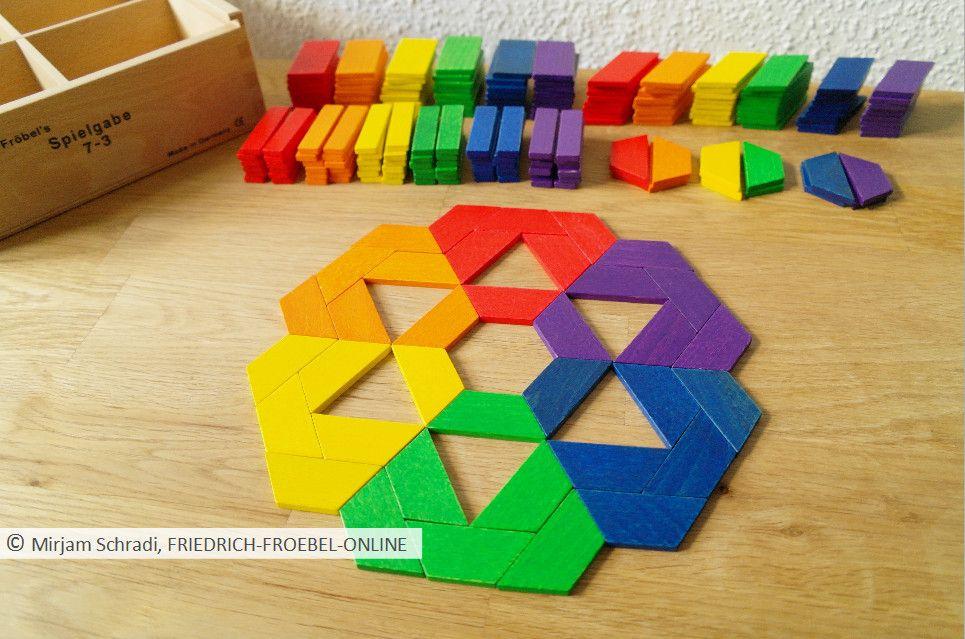 spielgaben mandala aus geometrischen formen trapez der spielgabe 7 gift 7 froebel als. Black Bedroom Furniture Sets. Home Design Ideas