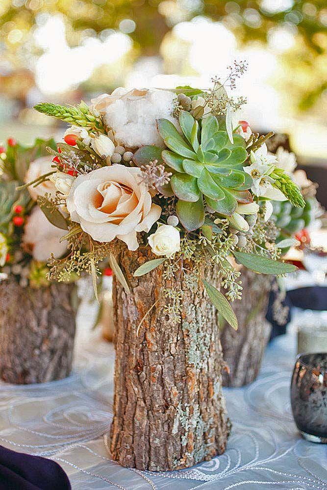 42 Rustic Wedding Centerpieces Fancy Ideas Weddings Centros De Mesa Rusticos Centros De Mesa Con Troncos Bodas En El Bosque