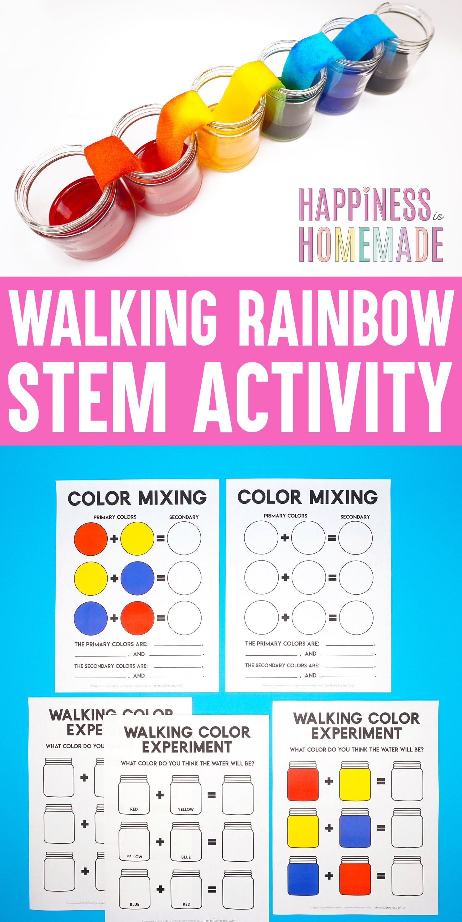 Walking Rainbow Stem Activity For Kids A Simple Science