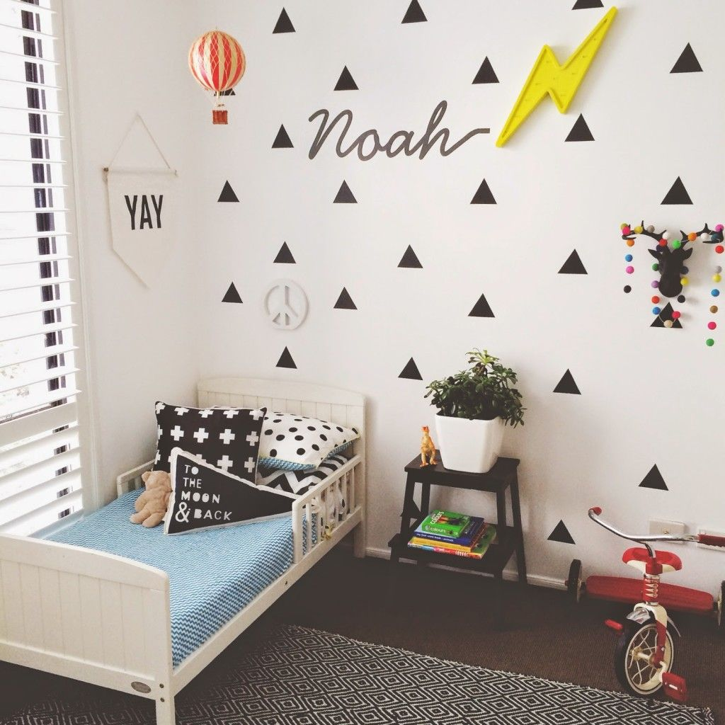 Ways To Style Black Triangle Wall Decals In A Kids Room - Triangle bedroom design