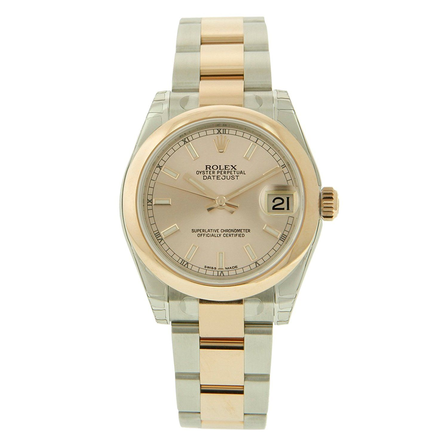 Rolex Lady-DateJust Pink Dial 18K Rose Gold Smooth Bezel-Oyster Band-Watch 31 mm-178241 -- Review more details here