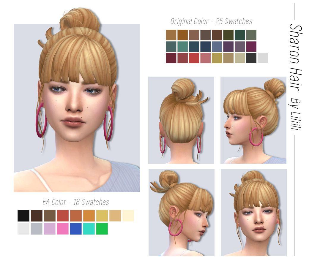 Budgiepicks Liliili Sims Sharon Hair Ea Color 16 In 2020 Sims Sims 4 Maxis Match