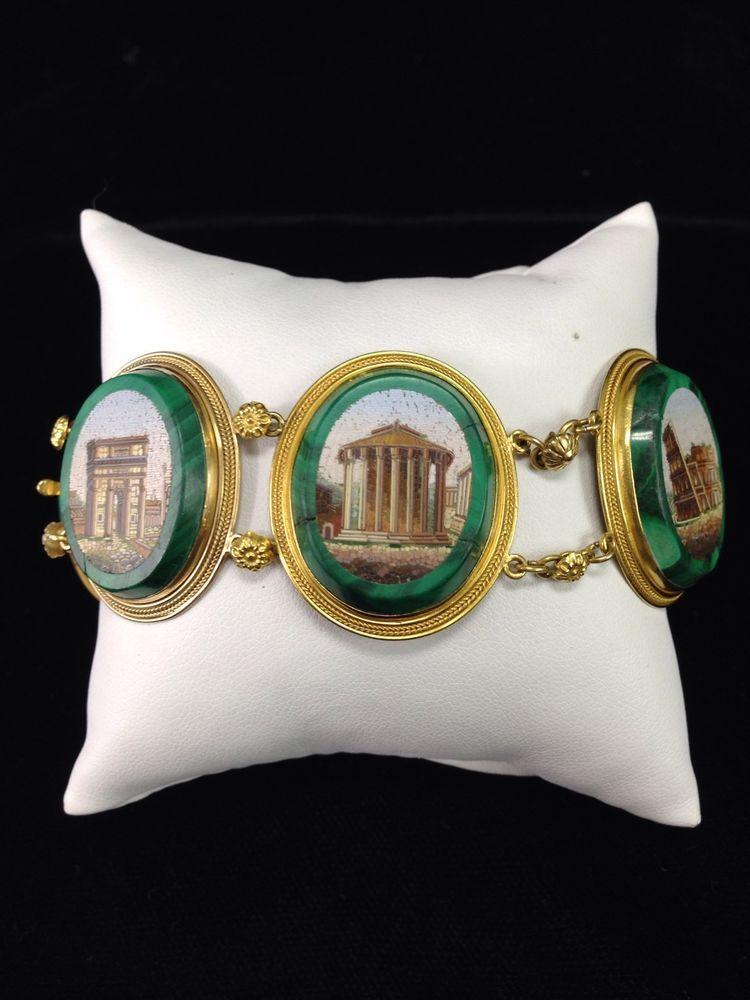 Micro Mosaic Malachite Bracelet 18k Yellow Gold -Estate Jewelry