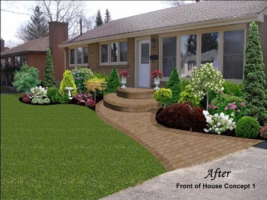 curved walkway and landscaping
