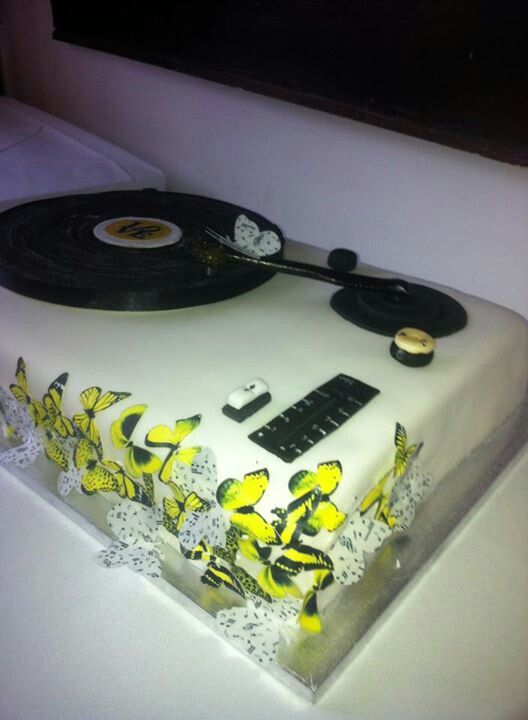 Record player wedding cake with butterflies, by abi wilcox