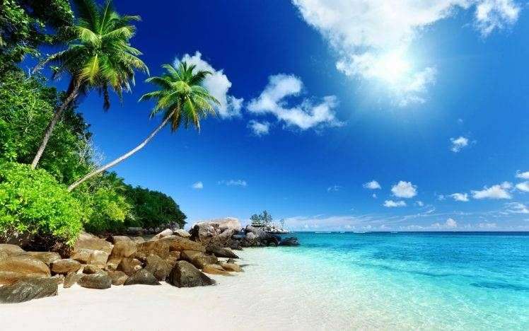 Nature Tropical Island Clouds Wallpapers Hd Desktop And Mobile Backgrounds Island Pictures Seychelles Beach Tropical Islands