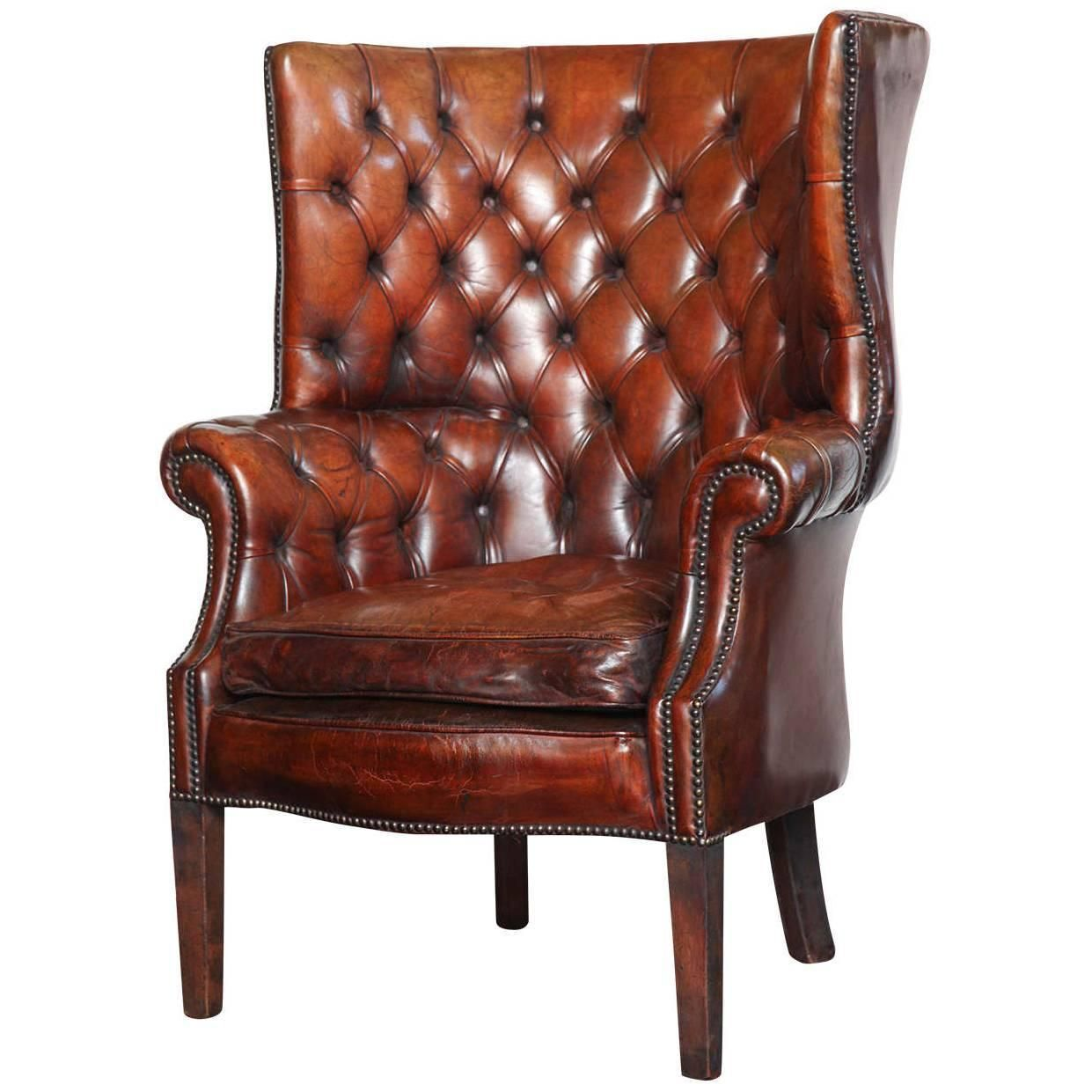 georgian style leather library chair | georgian