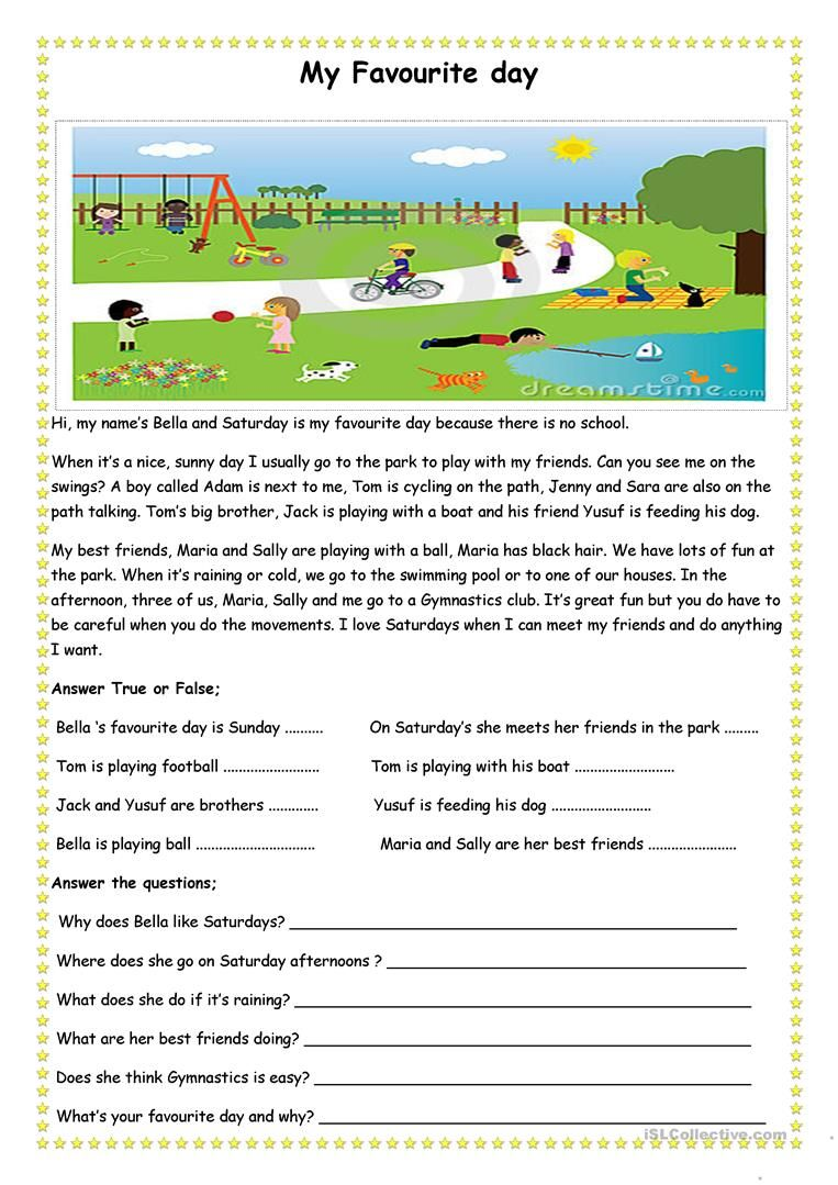 My Favourite Day Reading Comprehension Comprehension Worksheets Reading Comprehension Activities [ 1079 x 763 Pixel ]