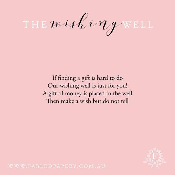 Monetary Wedding Gift Wording: Wishing Well Poems, Wishing Well
