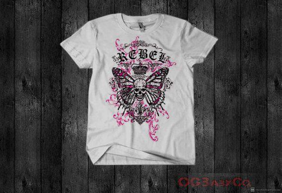 Children's Tshirt  OGBabyCo.  Pink Rebel Skull  by OGBabyCo