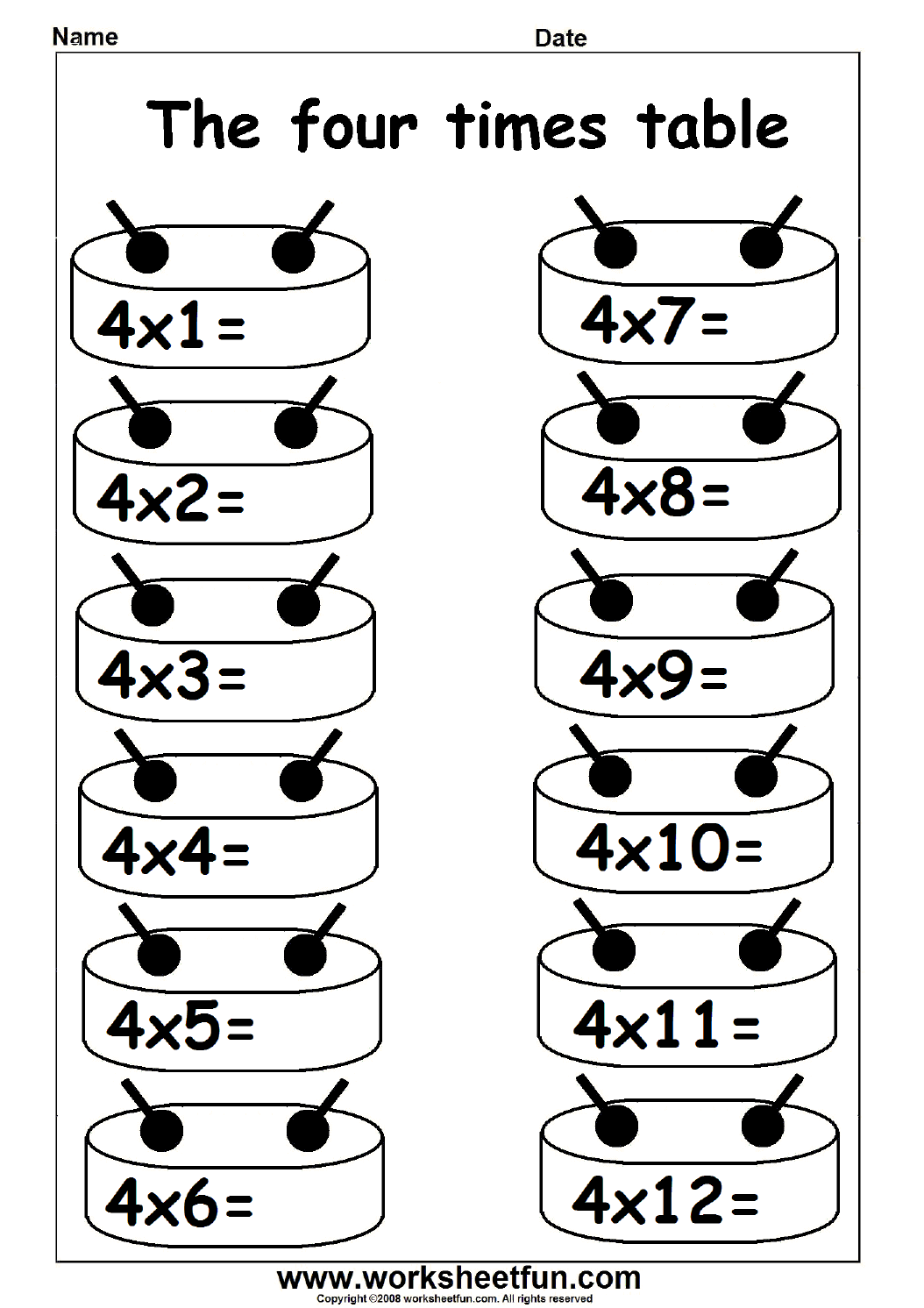 Uncategorized 4 Times Table Worksheet multiplication times table practice 2 12 printable table