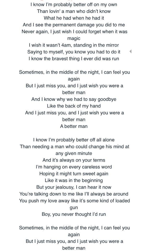 Lyric man song lyrics : Little Big Town- Better Man Hands down my favorite new country ...