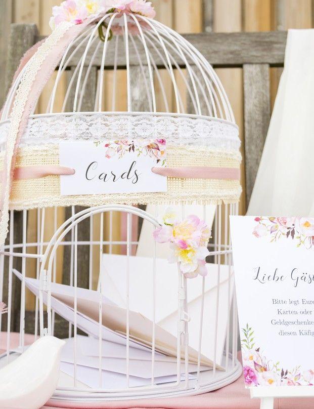 Der Vintage Vogelkäfig als Briefbox und Bitte um Geldgeschenke