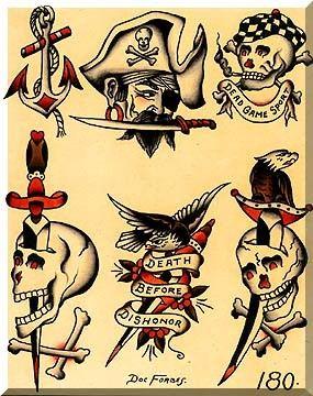 Old School Pirate Tattoos : school, pirate, tattoos, Sailor, Jerry, Tattoos,, Tattoo, Flash, School, Designs