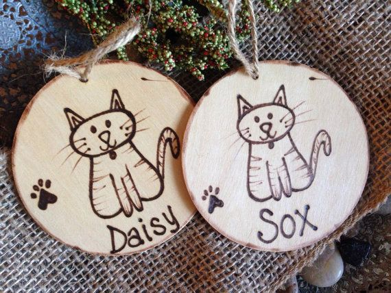 Personalized CAT Christmas Ornament with a Cute Cat Paw Prints C