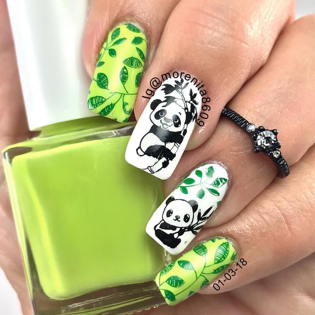 nails #panda #nailstamping #nailart #cutepanda #bamboo #nailstyle ...