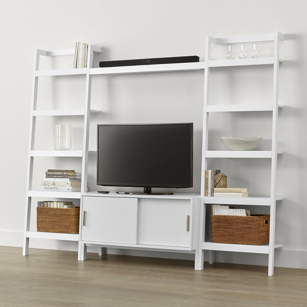 Sawyer white media stand with media shelf and two 24 5 bookcases crate and barrel