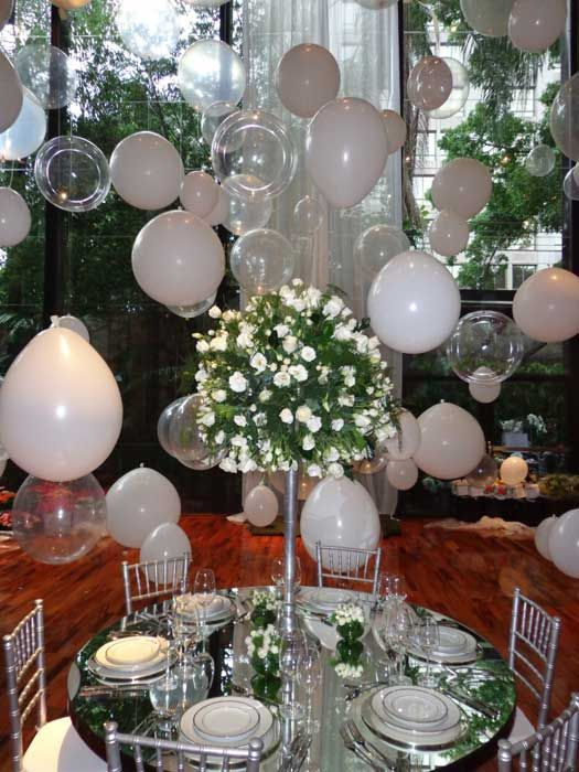 Decoraç u00e3o com balões brancos Blog Loja dos Noivos  -> Decoração Balões Casamento
