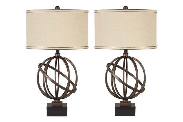 Bronze Finish Shadell Table Lamp (Set of 2) by Ashley Furniture