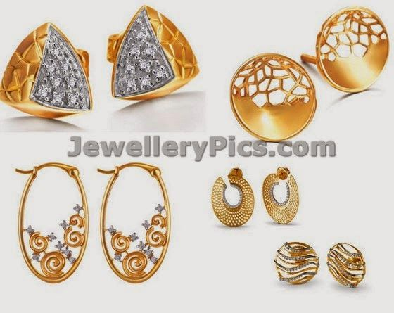 Gold Earrings From Tanishq Mia Collection Latest Jewellery Designs
