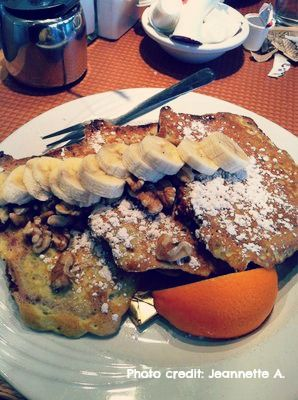 Indulge this weekend with our Banana Walnut French Toast. Ruth's freshly-made banana-walnut bread, dipped in vanilla egg batter, grilled and topped with bananas and walnuts. Served with warm maple syrup.