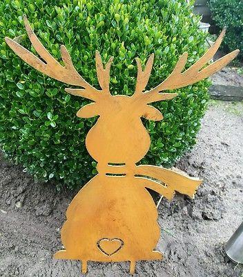 Edelrost Hirsch Aufhanger Bild Turkranz Dekoration Garten
