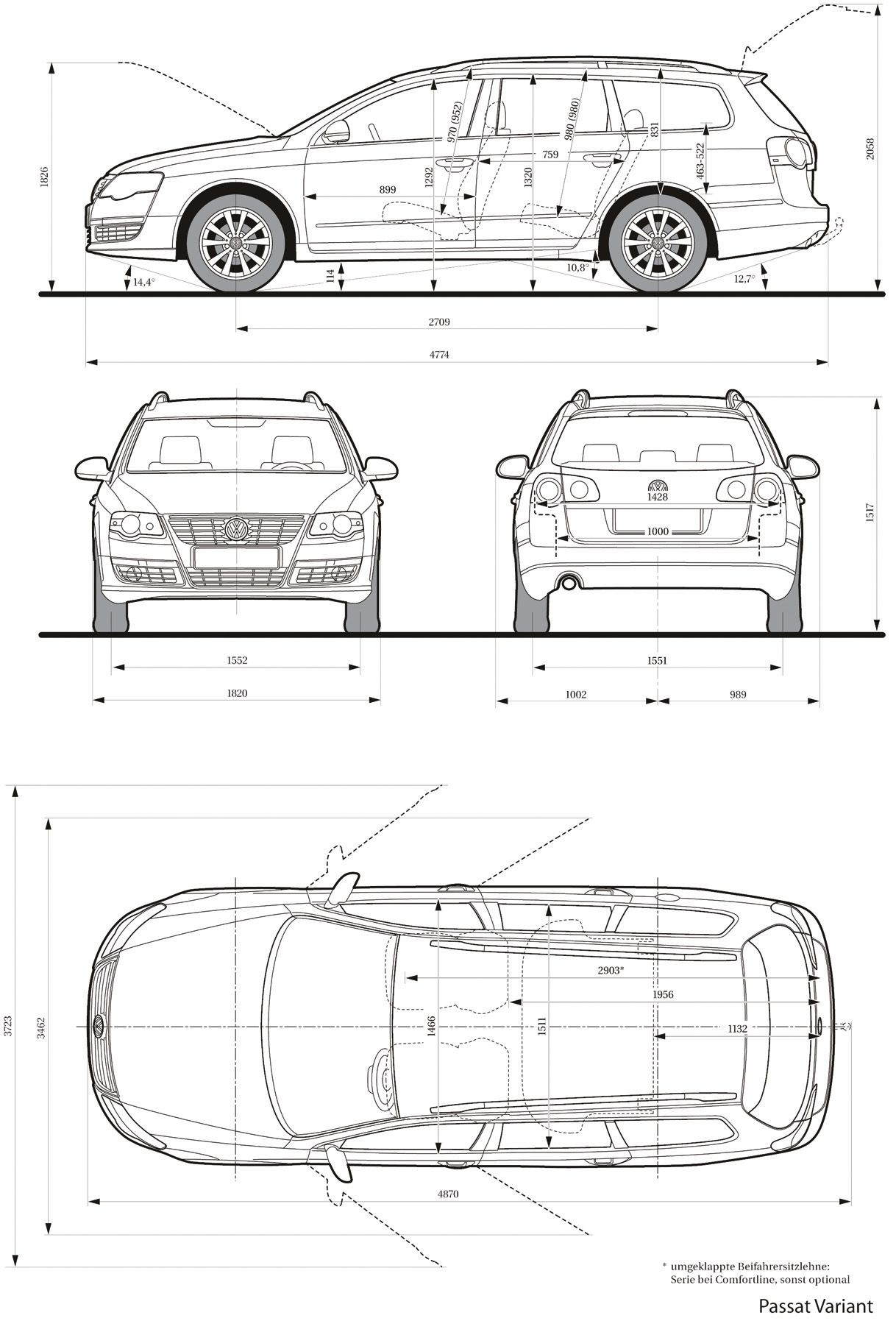 Volkswagen passat variant 2005 blueprint database for Blueprint sizes