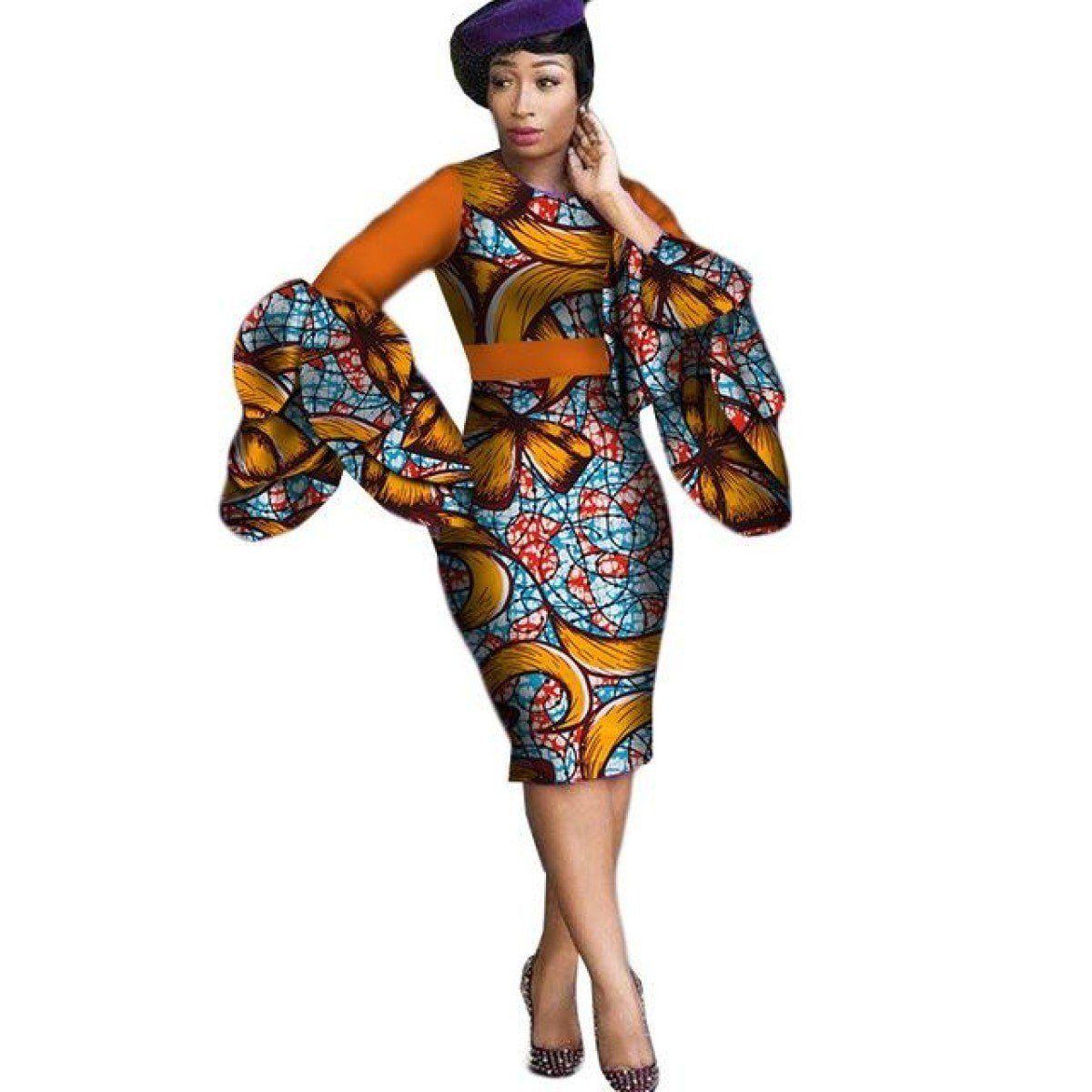 cd63965989200 African Cotton Dashiki Cotton Long Sleeve Vintage Dress For Women ...
