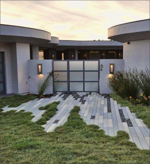 "Modern Landscape Architecture Design: Narrow Modular Pavers For A ""torn"" Hardscape Edge. Jgs"