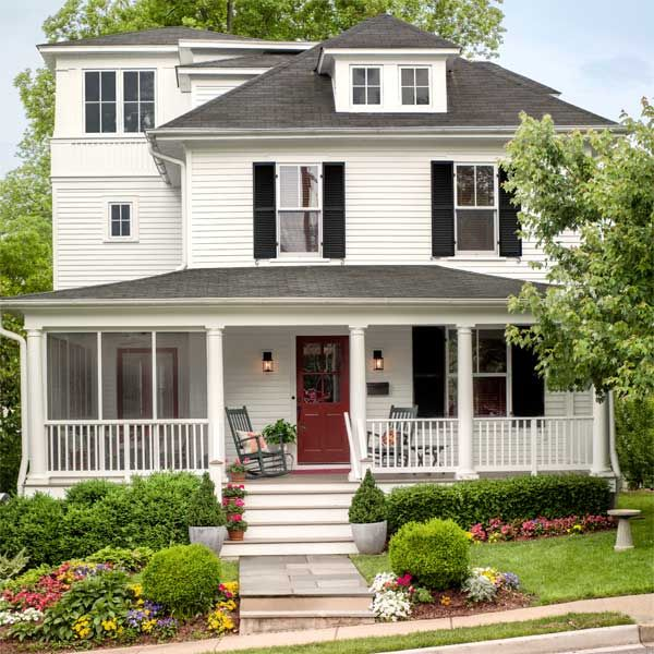 Room at the top for a classic american foursquare front for American classic house style