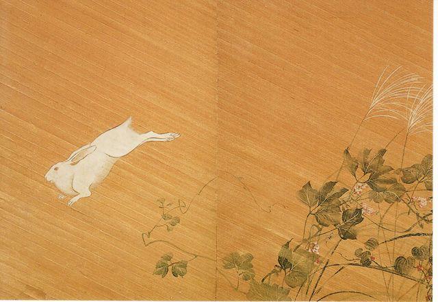 兎に秋草図襖 酒井抱一