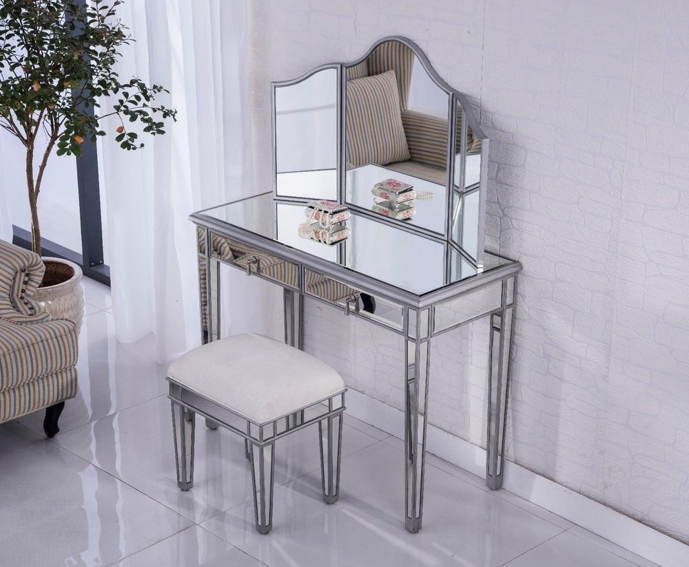Venetian Mirrored Dressing Table Set Console Stool Mirror Vanity ...
