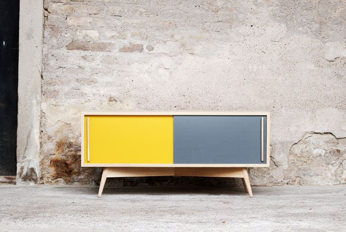 meuble tv, 120/35/40 esprit vintage, création gentlemen designers ... - Meuble Tv Scandinave Design