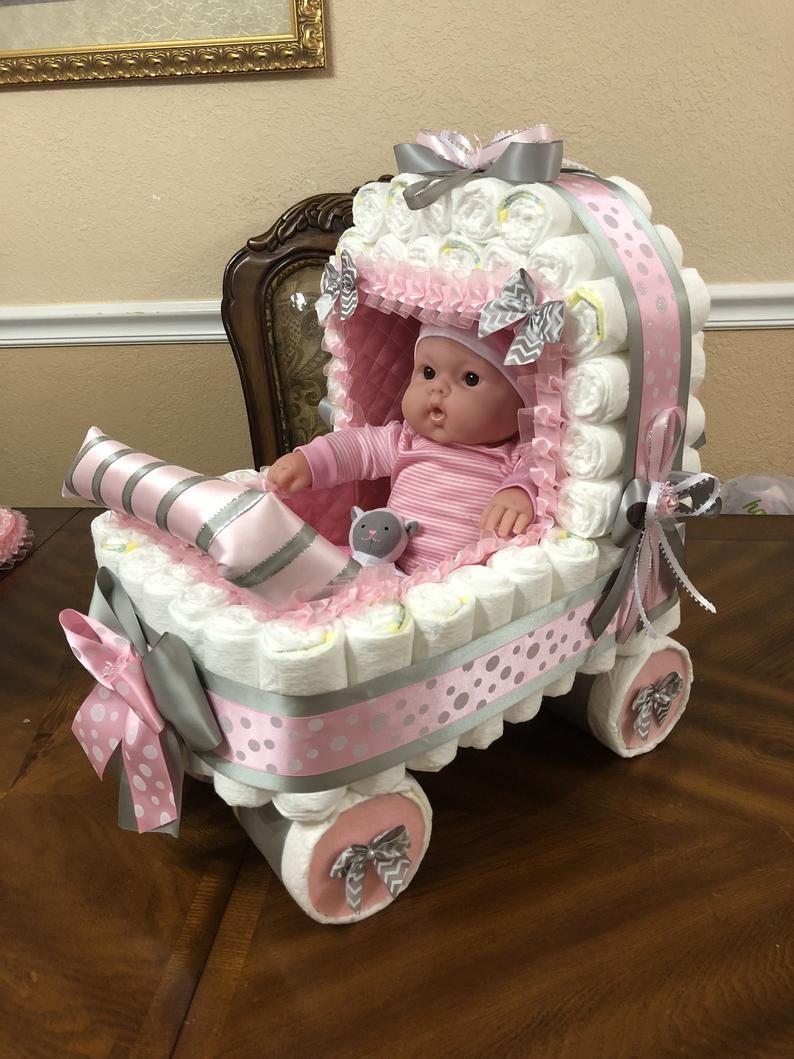 Pink and Grey Stroller/ Chevron Diaper Stroller/ Polka Dot
