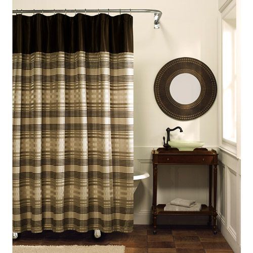 Blake Fabric Shower Curtain Chocolate Bathroom Inspiration - Cortinas-marron-chocolate