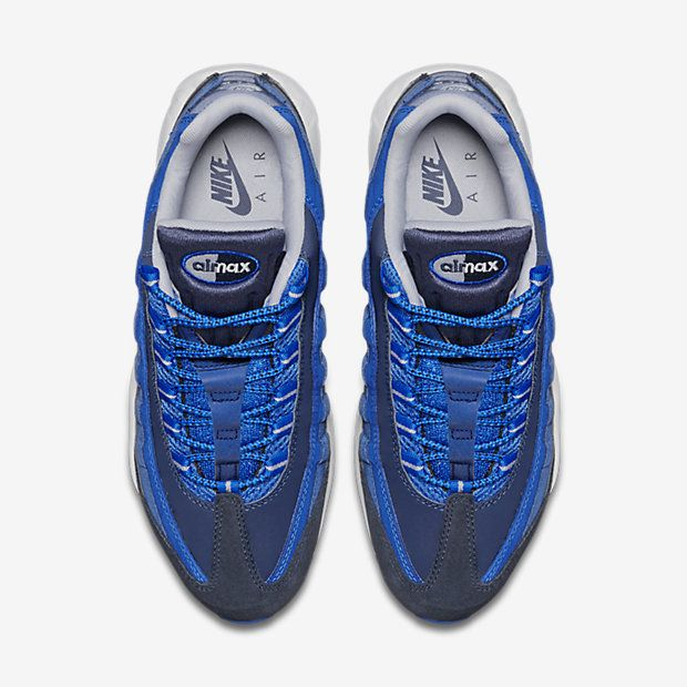online store cae0c 4656b Chaussure Nike Air Max 95 Pas Cher Homme Essential Obsidienne Foncee Hyper  Cobalt Bleu Cotier Gris