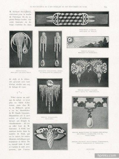 Dusausoy (Jewels) 1922 Bracelet, Pendants, Brooch Art Deco Style