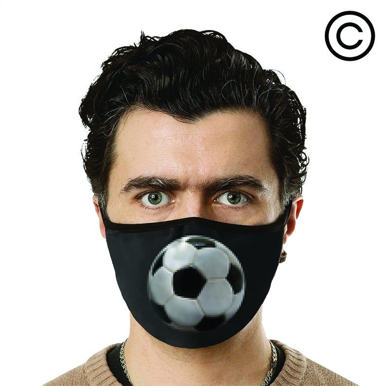 Soccer Face Mask Cover Your Face Etsy In 2020 Face Mask Face Mask