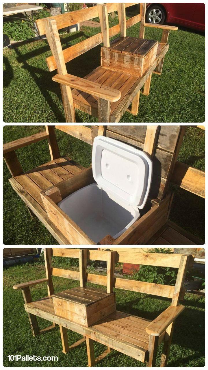 DIY Pallet Garden Bench with Cooler   101 Pallets …   Pinteres…