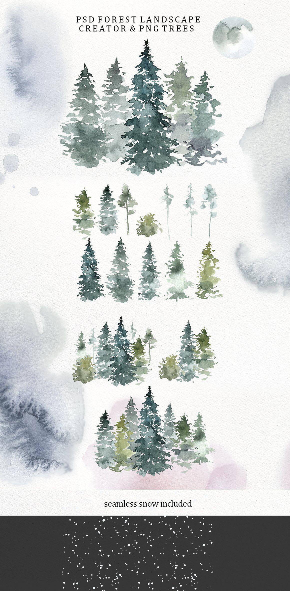 Spruces Pine Trees Deer Watercolor Clipart Fir Trees Png Etsy Tree Sketches Pine Tree Art Pine Tree Drawing