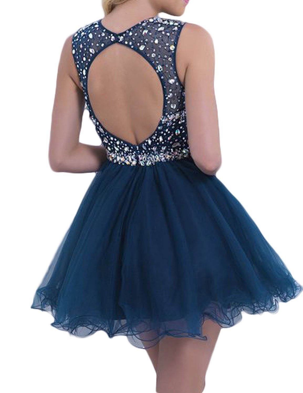 439cc292eb1 Amazon.com  LovingDress Womens Tulle Homecoming Dress Scoop Beaded Bodice  Short…
