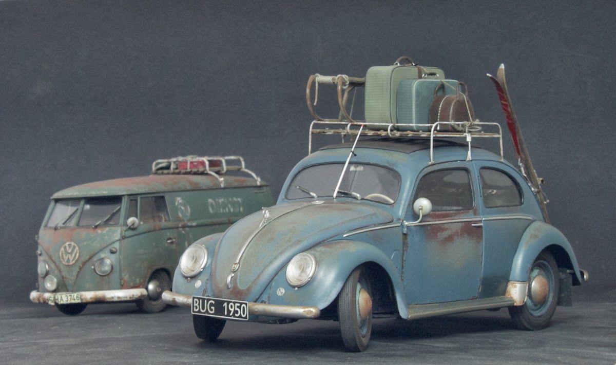 Excellent Scale Models Of Vintage Vw Vw Bus Diecast Diorama