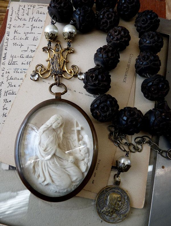 Antique french meerschaum necklace saint anne child mary a relic mary magdalene meerschaum pendant necklace mozeypictures Gallery