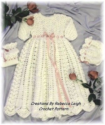 Crochet Pattern For Christening Gown Cap Booties By Rebecca Leigh