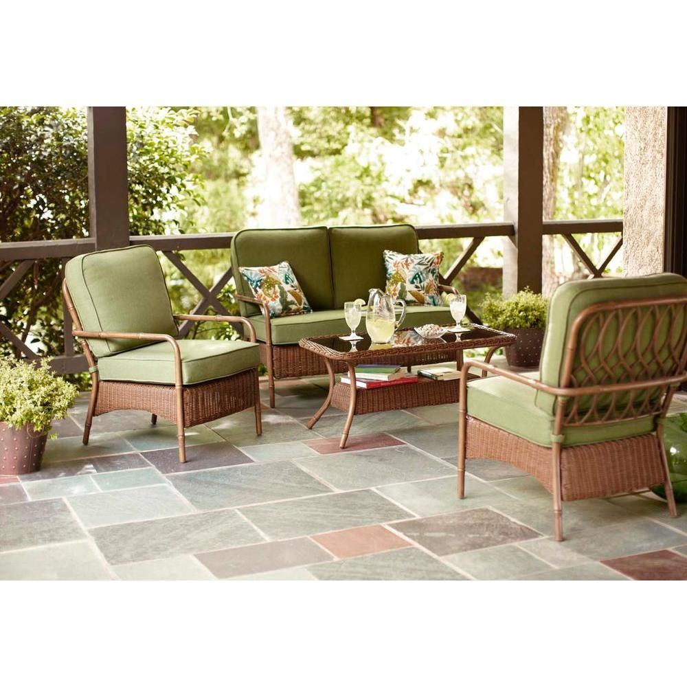 Hampton Bay Clairborne 4-Piece Patio Seating Set with Moss ...