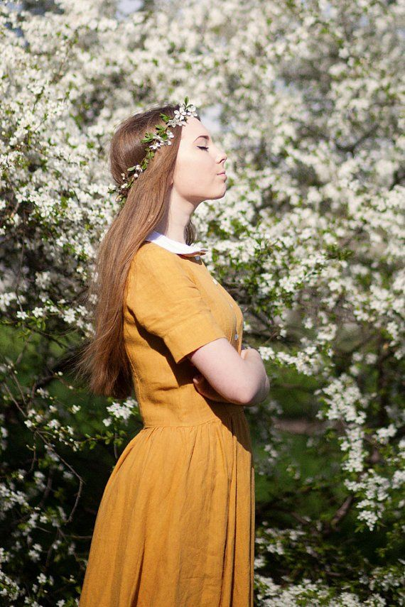 Classic Dress, Short sleeves, Yellow Daffodil