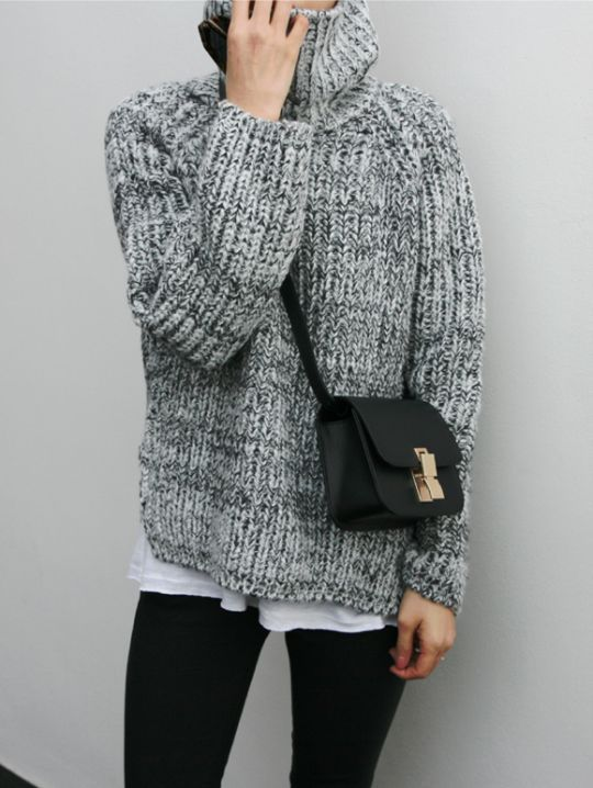 Minimalist winter fashion: cozy sweater, white tee, black leggings ...