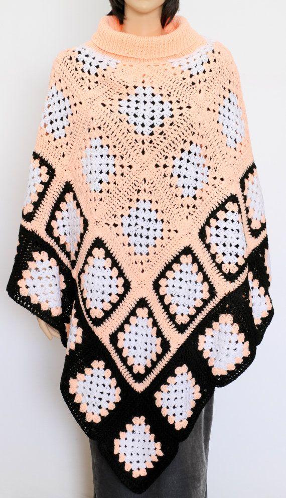 Crochet Poncho Black white Peach Poncho Extra- Large ponchoKnitted ...